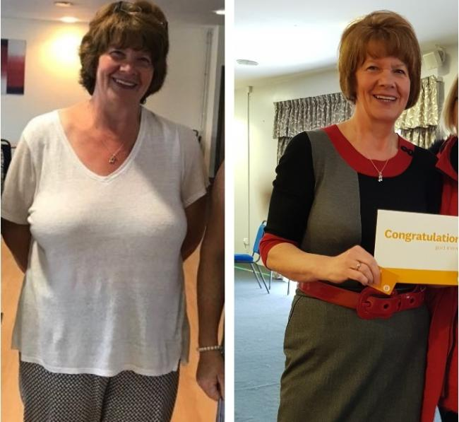 Janet Fallding, from Golborne, before and after she lost weight