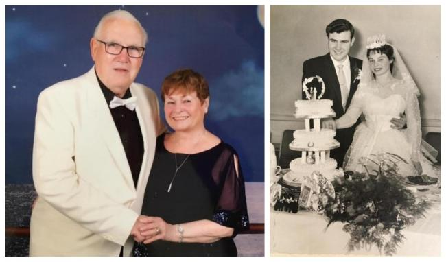 Barrie and Mary Harvey on a cruise last year and on their wedding day 60 years ago