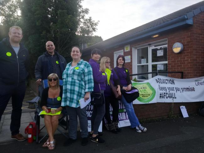 Addaction workers at Kennedy House on Brunswick Avenue in Leigh at the strike on August 23