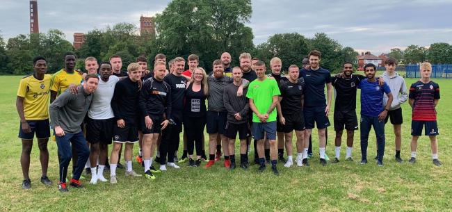 Toni Aspinall with Atherton Laburnum Rovers FC players