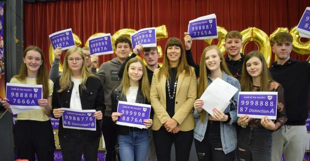 Golborne High School students celebrate their GCSE results in August