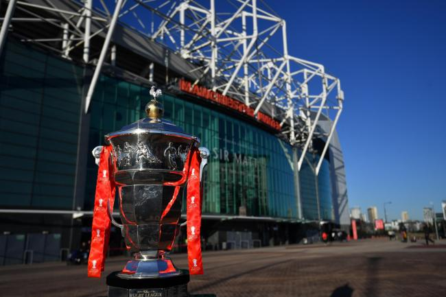 The Rugby League World Cup trophy outside Old Trafford