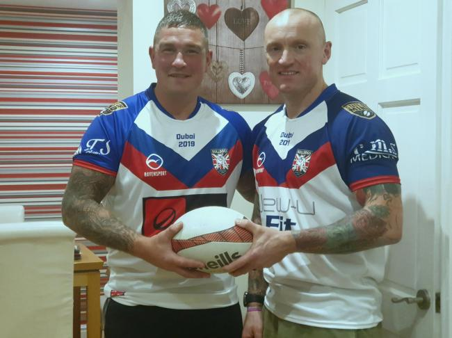 Dean Balmer and Dan Ogden wearing their Great Britain Bulldogs shirts