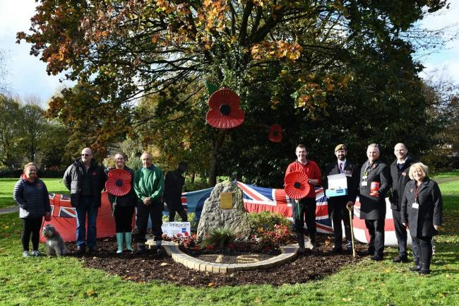 Volunteers and councillors at Atherton Park's memory garden for the launch of the Poppy Appeal on Sunday