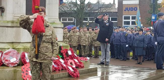 The Remembrance Sunday service at Leigh Cenotaph last year