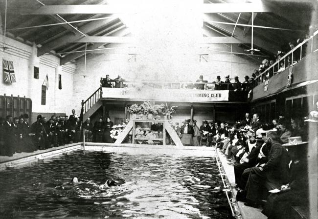 Spectators at a Tyldesley Swimming Club event at Tyldesley Baths                                                                                                                                                      Picture: Wigan and Leigh Archives and L