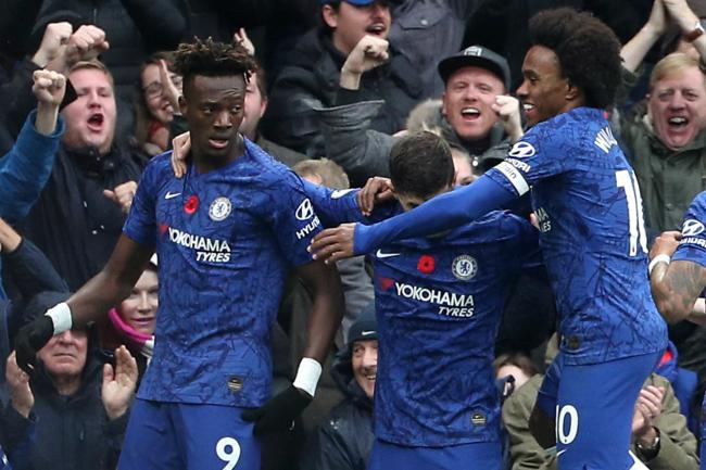 Tammy Abraham, left, and Christian Pulisic, centre, shone for Chelsea