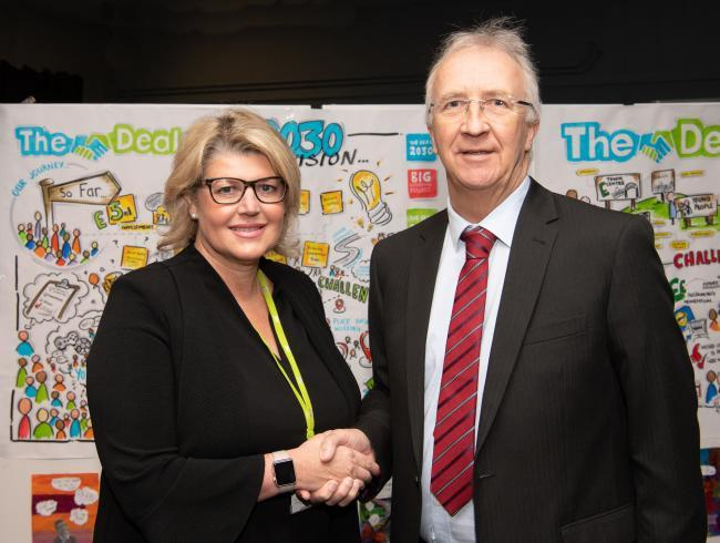 Wigan Council chief executive, Alison McKenzie-Folan, with the local authority's leader Cllr David Molyneux