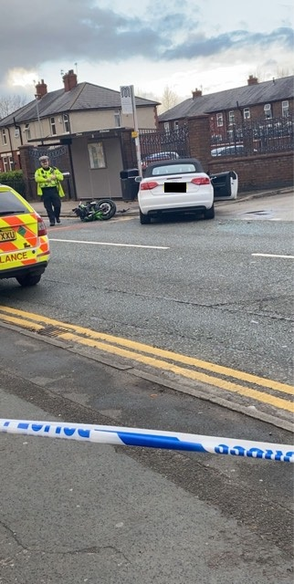Man taken to hospital with serious head injuries after crash between motorbike and car - Leigh Journal