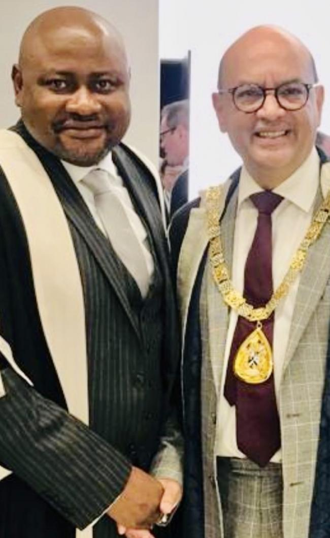 Dr Adeeko is pictured, left, with RCGP President Prof Mayur Lakhani after receiving his award