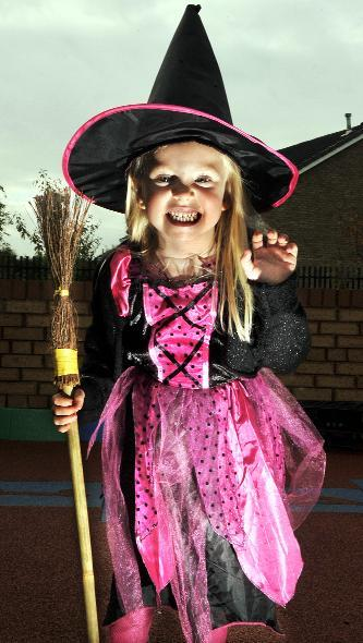 Leigh Journal: Pictured in her witch outfit is Amy Powley, aged five.