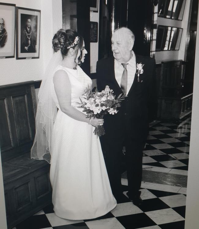 Holly Moreland with her granddad Joseph Gillespie on her wedding day when he gave her away