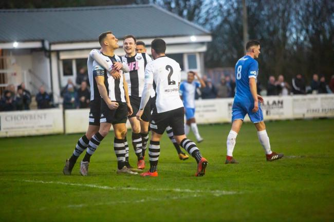Colls celebrate another goal. Pic: David Featherstone