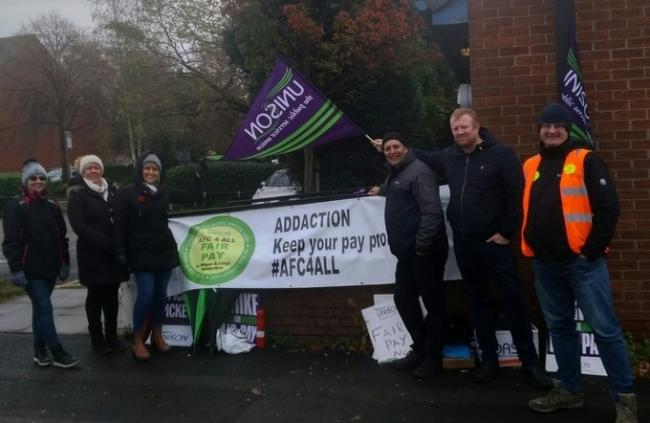 Addaction staff members on strike at Kennedy House on Brunswick Avenue in Leigh in November