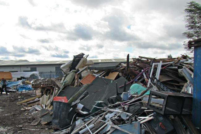 Waste at the site on Leigh Trading Estate on Butts Street