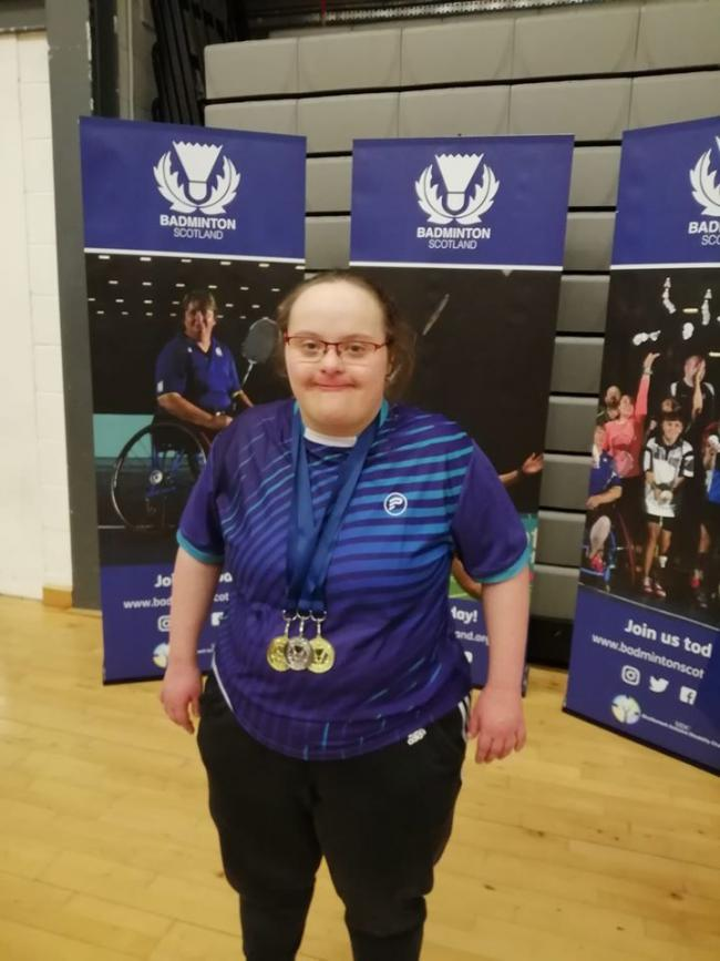 Hannah Payton with the three medals she won at the 4 Nations Disability Badminton Championships in Glasgow