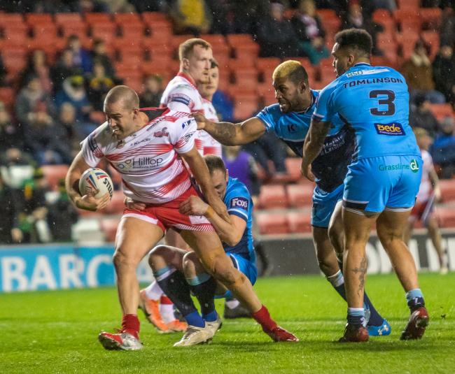 Nick Glohe on the attack for Leigh Centurions against Batley Bulldogs in February. Picture: Richard Walker