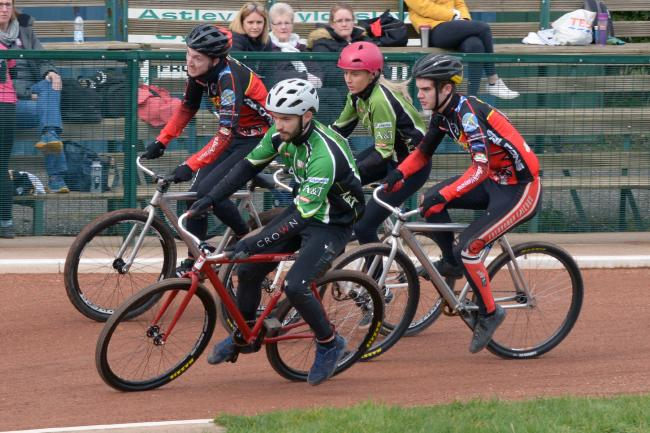 Niall Morton, Pawel Idziorek, Emily Burgess, Lewis Foxley. (Astley & Tyldesley riders in the green jerseys, Edinburgh in the red).Photo courtesy of Len Priestley, A&T Official Photographer.