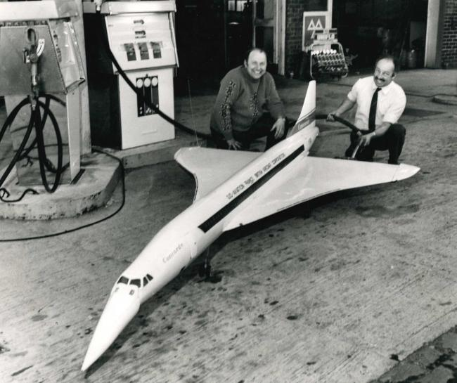 Harry Prunnell fills up Roy Lever's model Concorde in 1974 at Tyldesley petrol station after it stopped off to refuel