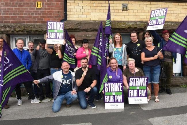 Wigan and Leigh drug and alcohol rehabilitation workers from We Are With You at the Coops Building on a strike day in 2019