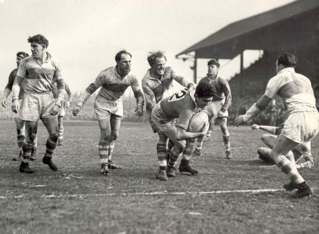 Rex Mossop being halted by Saints' Alan Prescott