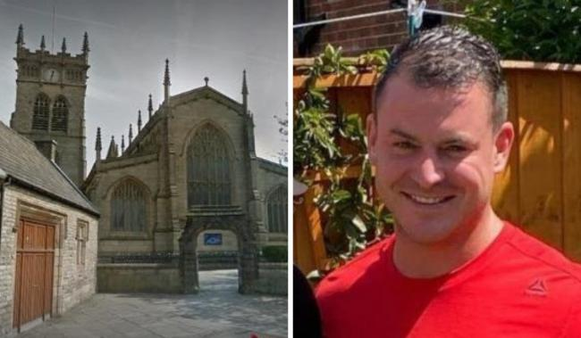 ATTACK: Wigan Parish Church and victim Steven McMyler