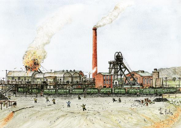 A watercolour of the explosion at the Pretoria Pit in 1910