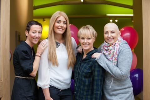 Customers Jo Hardman, Camilla Bowman and Julie Atherton with Sally Dynevor