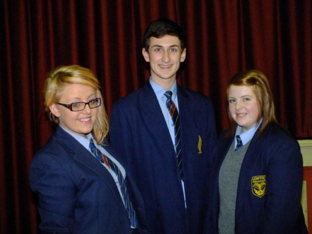 Pictured (from left) Lowton's terrific trio of Leonie Hull, Matthew Davidson and Ellie Digby.