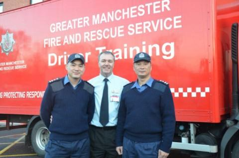 Hong Kong fire officers in town for driving course