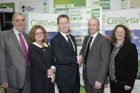From left, Lord Peter Smith, Phyllis Prior-Boardman, Gregory Barker MP, Dave Armstrong and Cath Hurst at last Thursday's Green Deal launch at Hindley Green