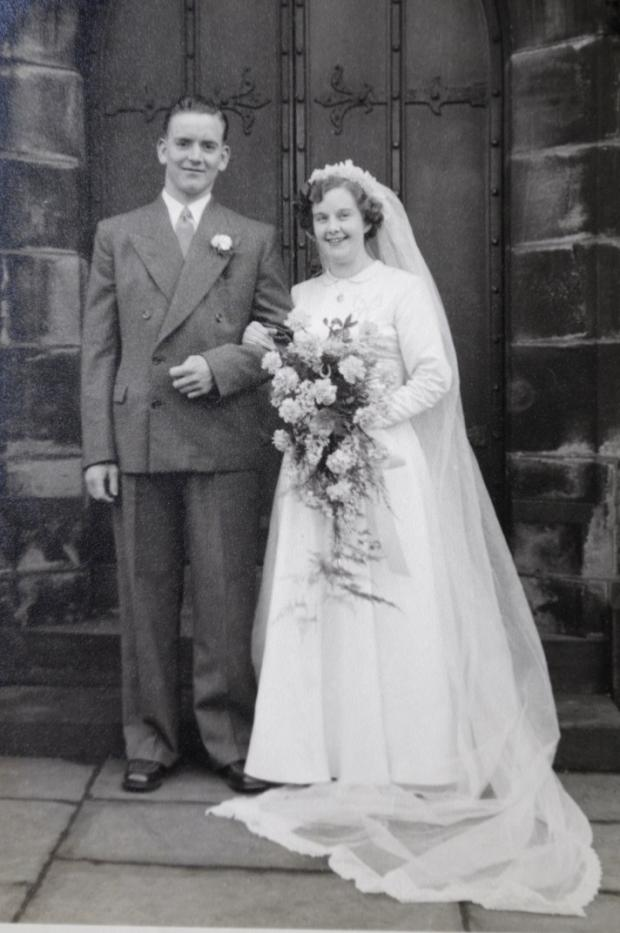 Mr and Mrs Berry pictured at St George's Church, Tyldesley on their wedding day in 1953.