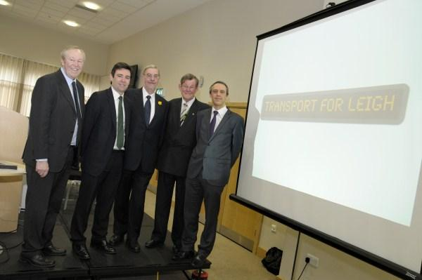 Rail link campaigners from right Ged Tyrell, Trevor Barton, Lord peter Smith, Andy Burnham and Dave Watts.
