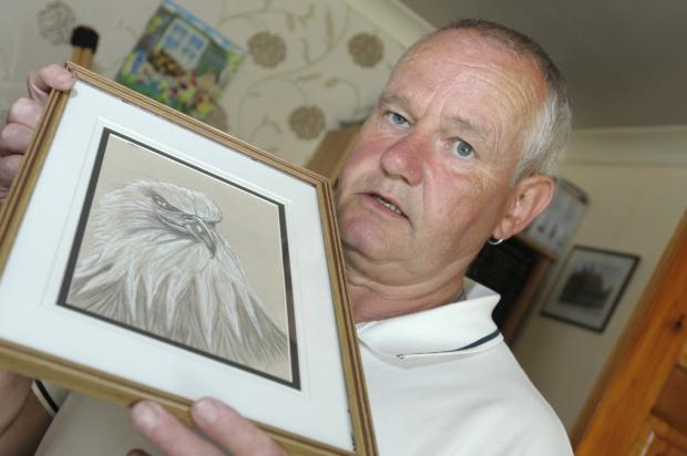 Leigh Journal: Peter Leatherbarrow with one of his drawings