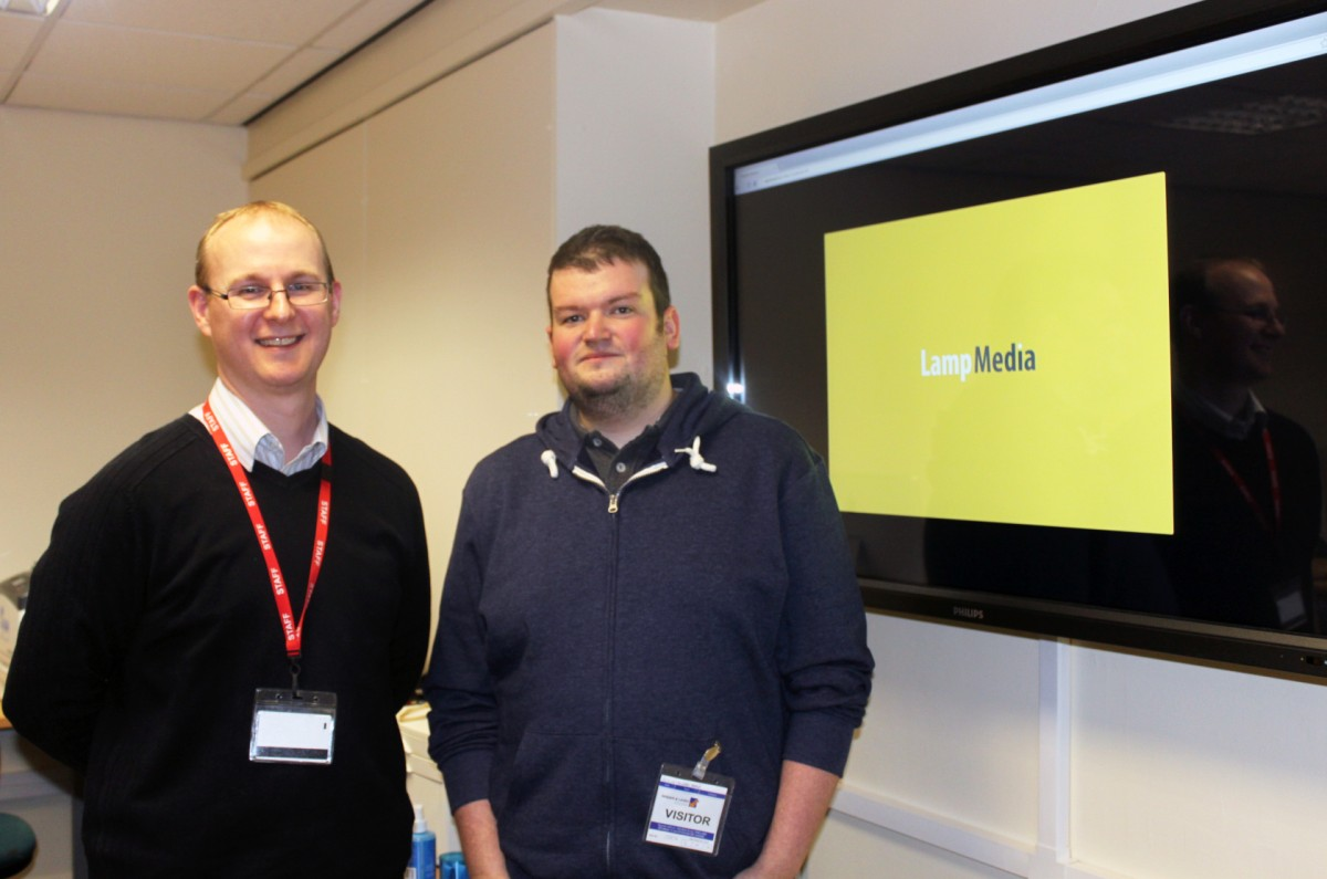 Computing tutor at Wigan & Leigh College Paul Molyneux and Lamp Media's Michael Boffey