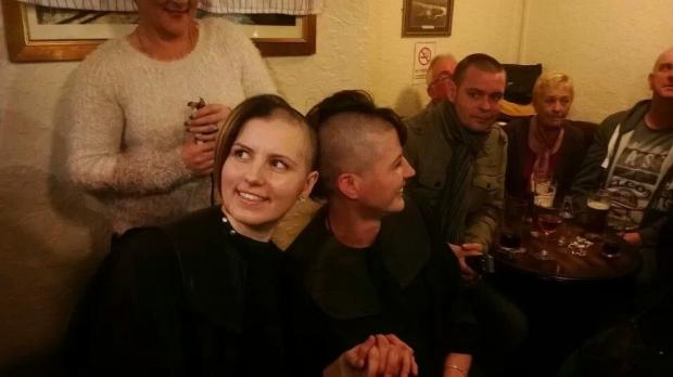 Marie Hupton and Leanne Stevens have shaved their hair