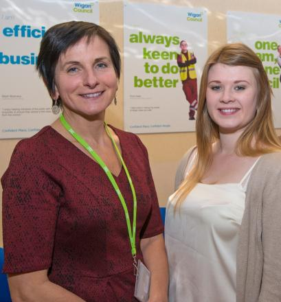 Lydia Naylor with Wigan Council's chief executive Donna Hall