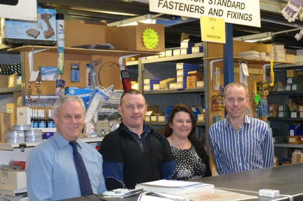 Business development manager Stuart Briscoe, warehouse manager John Lee, sales administrator Suzanne Tindall and Gary Stevens