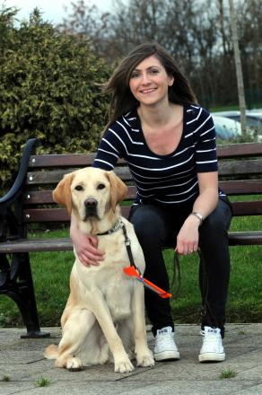 Boarder Sarah Meredith with trainee guide dog Bruce