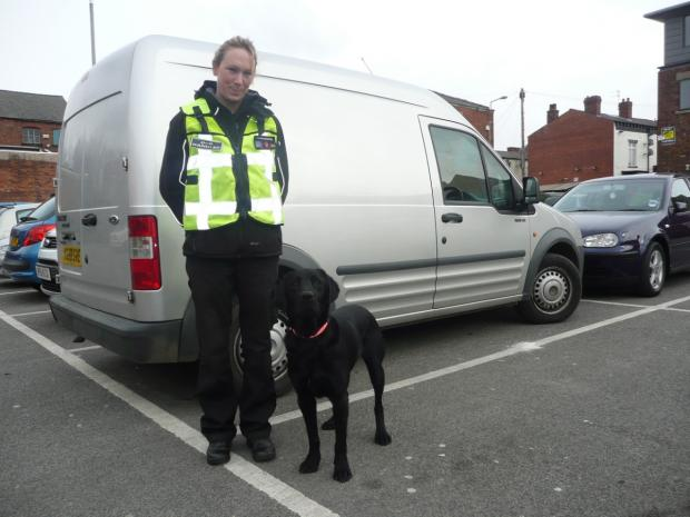 Trained sniffer dog Ozzie and his Wagtail dog handler