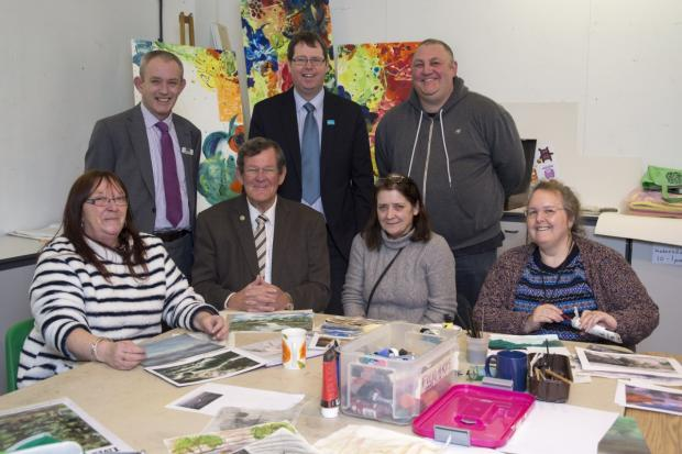 Leigh Journal: Pete Gascoigne, Executive Director at WLCT, Clr Paul Kenny, Ian Jackson from Cadence Café, Trevor Barton of Trust in Leigh with members of the Folio arts group Linda Boylan, Lynn McKee and Dianne Berwick