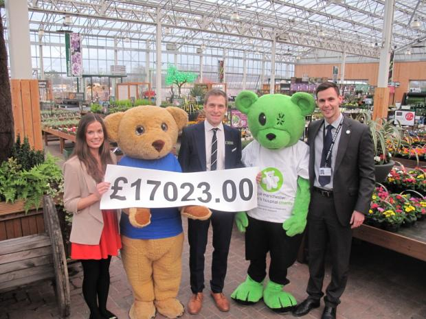 Mary McLaughlin from The Christie charity visited Bents to accept the donation joined by Christie Bear and Joel Oxberry with Humphrey Bear from Royal Manchester Children's Hospital