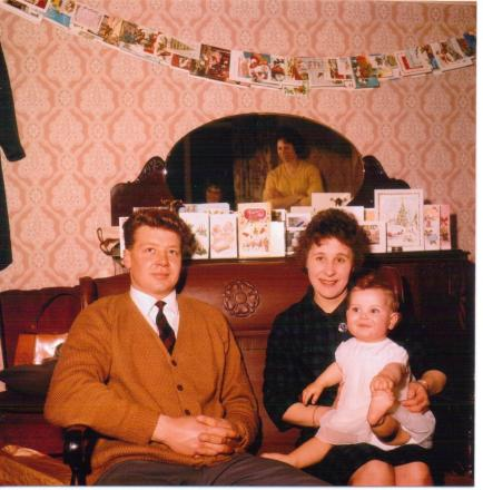 Margaret and her husband with the baby in the late 1950s