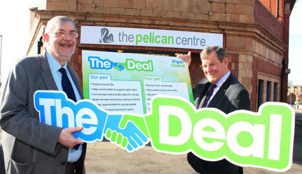 Leigh Journal: Lord Peter Smith and Trevor Barton outside the Pelican Centre
