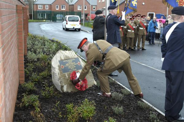 Leigh Journal: Major George Briscoe laid a wreath of poppies at the foot of the stone