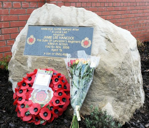 Leigh Journal: The memorial stone at Hancock Close