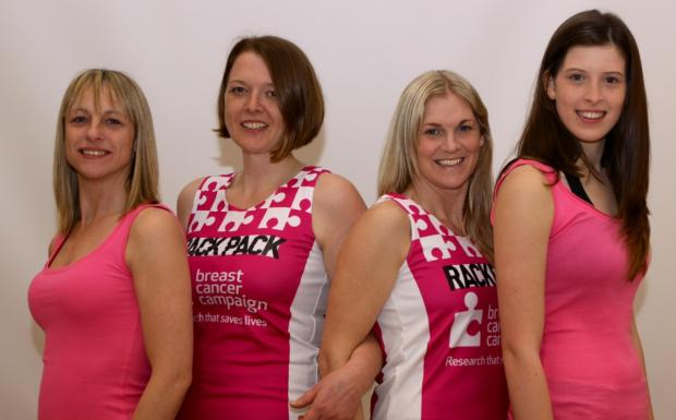 Leigh Journal: From left, Lisa Davis, Kezia Malpus, Melissa Pettigrew and Summer Jones are raising money for the Breast Cancer Campaign
