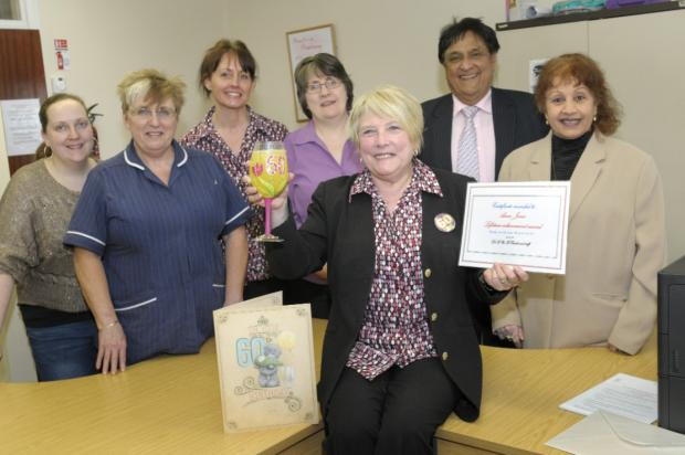 Anne Jones was bid farewell at a surprise gathering by her colleagues at Westleigh Health Centre