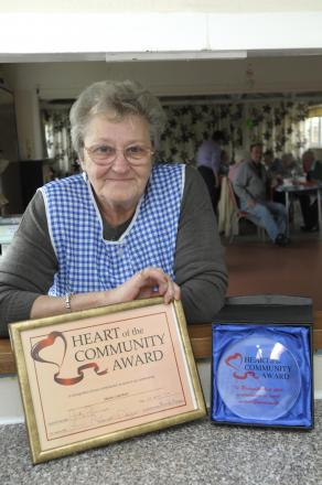 Marian Latchford with her Heart of the Community Award