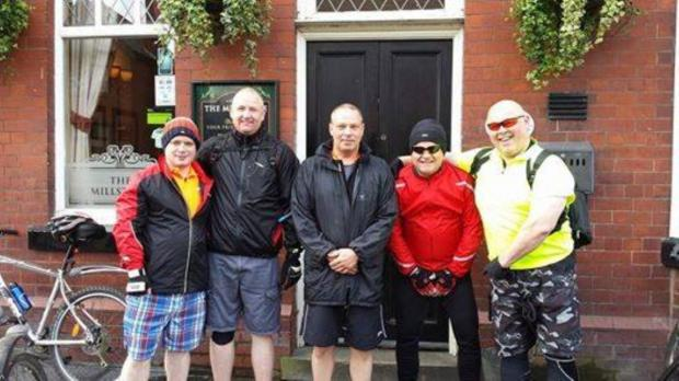 Anthony Bridge, Andy Prescott, Dave Radcliffe, Graham Rigby and Stuart Keane before they set off for Blackpool